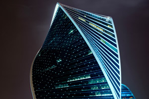 Evolution Tower, a distinctively luminous landmark on the Moscow night skyline.